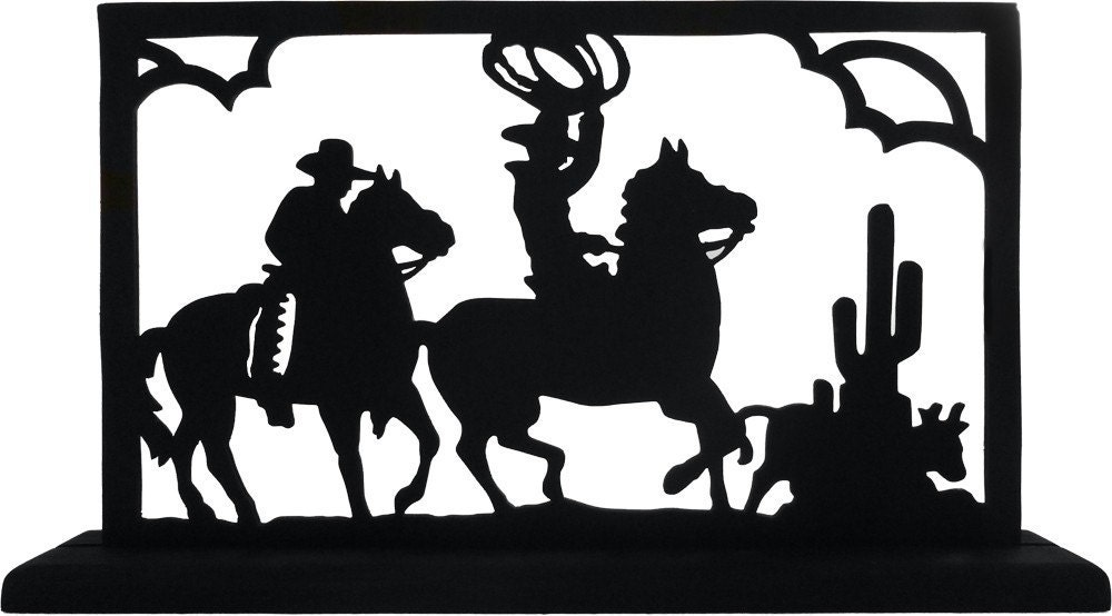 Cowboys On Roundup Picture Handmade Wood Display Silhouette