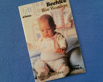 Beehive Wee Wonders knitting pattern book, Mignonnettes Beehive Astra, Patons vintage knitting patterns, baby knit, knit for baby