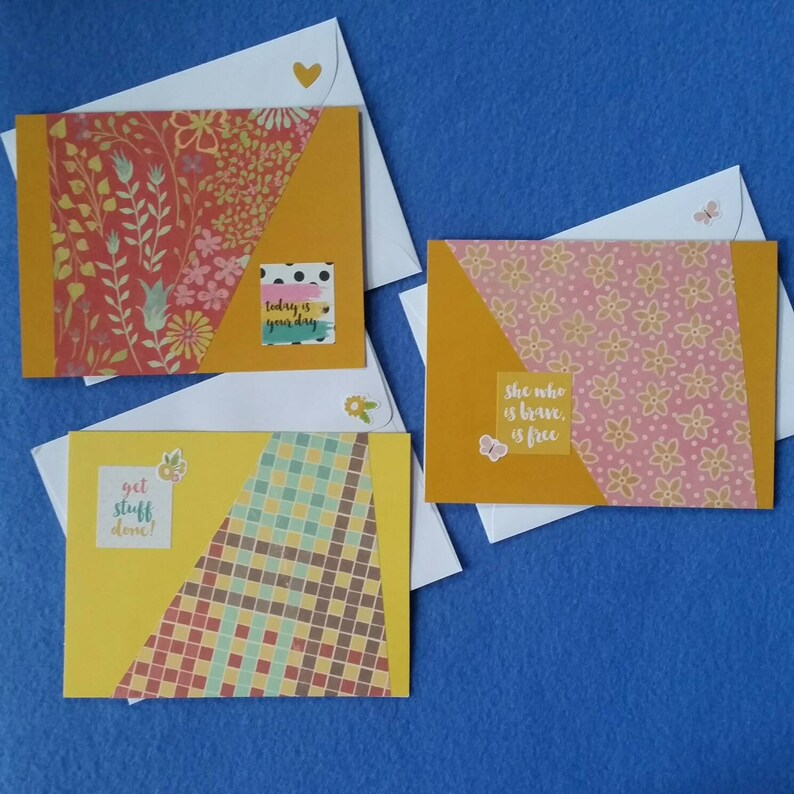 Three Handmade Greeting Cards today is your day encouragement cards blank cards she who is brave is free get stuff done