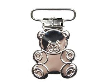 10 Teddy Bear Suspender Clips 1 inch Extra SHINE. pacifier holder clip. baby pacifier clip. mitten clip. dummy clip. brace clip #293080