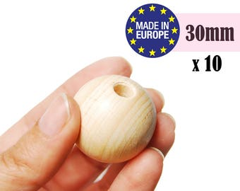 Natural Wooden Beads. large wooden beads. unfinished wooden beads. round wood beads. craft beads. teething beads. made in germany #120042
