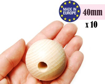 Large wooden beads. unfinished wooden beads. natural wooden beads. made in germany. round wood beads. craft beads. teething beads #120041