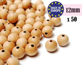 12mm Wooden Beads. teething beads. unfinished wooden beads. natural wooden beads. large wooden beads. round wood beads #120044