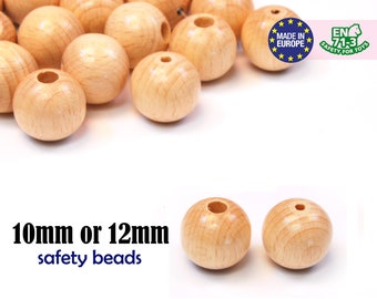 Natural Round Wooden Beads. safety beads. security end beads. safe baby beads. wood teething beads. 18mm wood beads with 2 sizes #