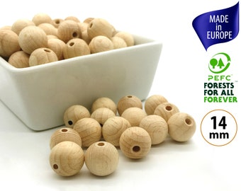 14mm Wood Beads from European Beech Wood for Natural Jewelry Making, Round Unfinished Wooden Beads from Sustainable Organic Wood - 25 beads
