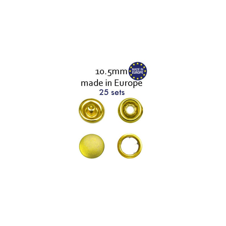 Brass Metal Capped Snaps, No Sew Snaps, Gold Metal Button Snap Fasteners,  Cap Snaps, Snaps Fastener Set of 25, Snap Supply