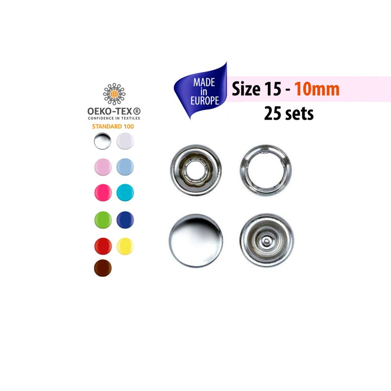 Metal Snaps for Clothing, Fabric, Heavy Duty Color Snap Fastener Button,  Prong Cap Snaps, No Sew Snaps Fabric Snaps Size 15 - 10mm buttons