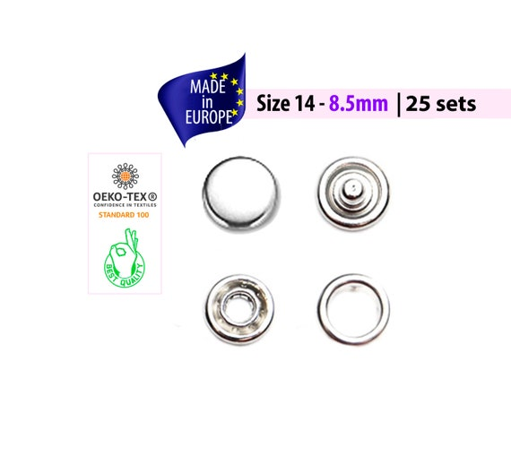Or 4-partie Sew On Heavy Duty Boutons Pression Outil broches snap Fasteners 15 mm