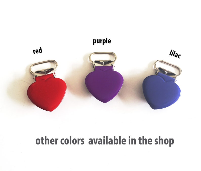 Paci Clips for Macrame and Fabric Dummy Clips Purple Bulk Suspender Clip Hardware Heart Pacifier Clip for DIY Pacifier Holder 10 clips