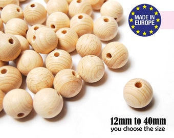 Natural Wooden Beads. large wooden beads. unfinished wooden beads. round wood beads. craft beads. teething beads. made in germany