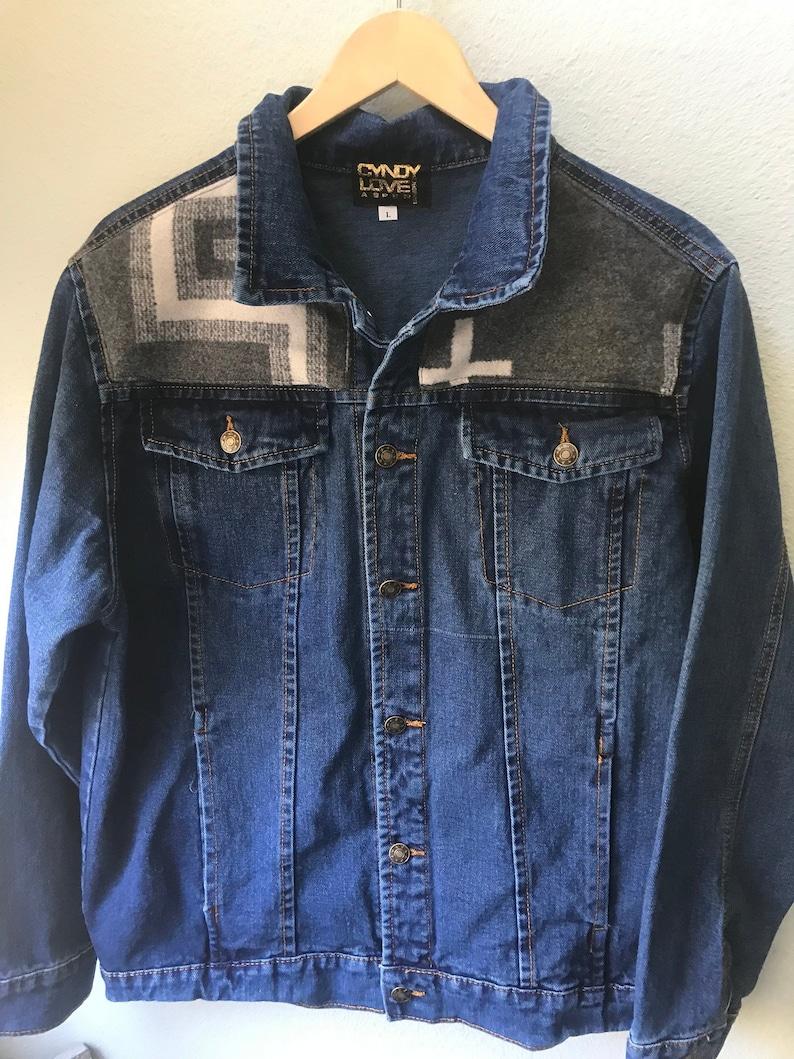 Adult Denim Vintage Native American Jean Jacket with Oregon image 0