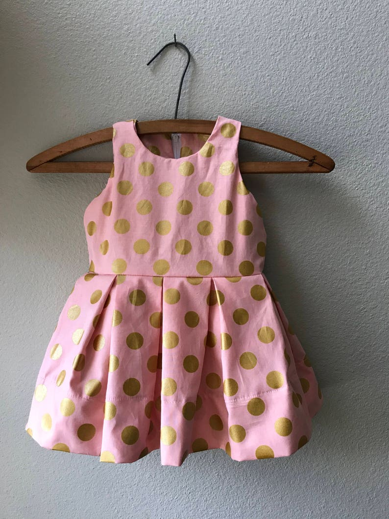 Little Girl Pink and Gold Polka Dot Holiday Dress Easter image 0