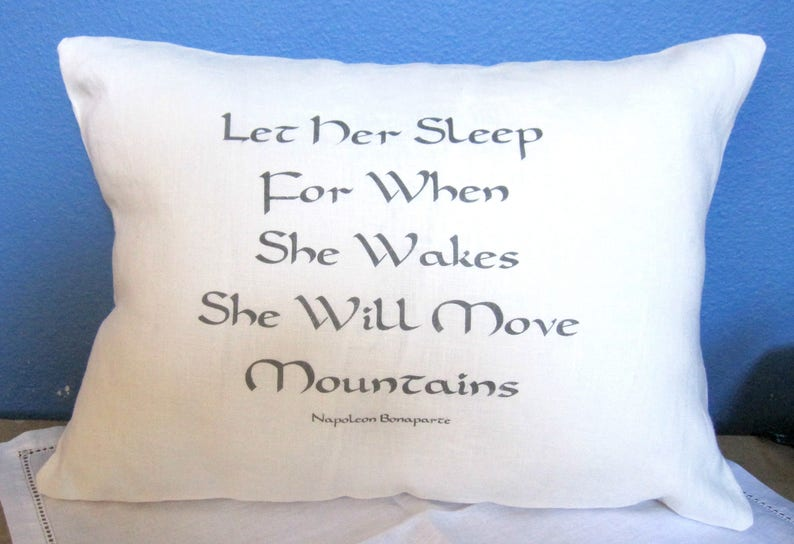 Linen Pillow Let Her Sleep for When She Wakes She Will Move image 0