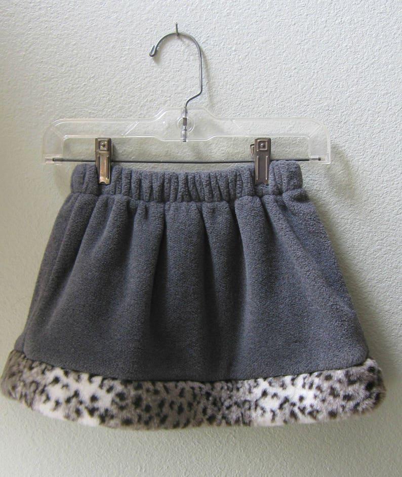 Little Girls Skirt gray fleece polartec with Faux Fur Leopard image 0