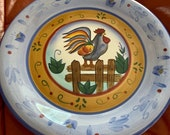 Vintage Stoneware Handpainted Rooster Hen Plate 10.5 quot diameter Excellent Condition Hand Painted chicken plate