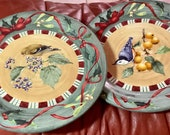 Vintage Lenox Winter Greetings Everyday Goldfinch Nuthatch 10.25 Diameter Dinner Plates Set of 2 Beige Red Green Exc Condition
