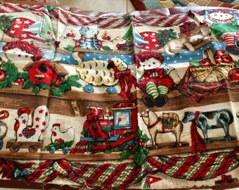 Christmas tree cotton fabric oft red ground small scale print BTHY half yard cut