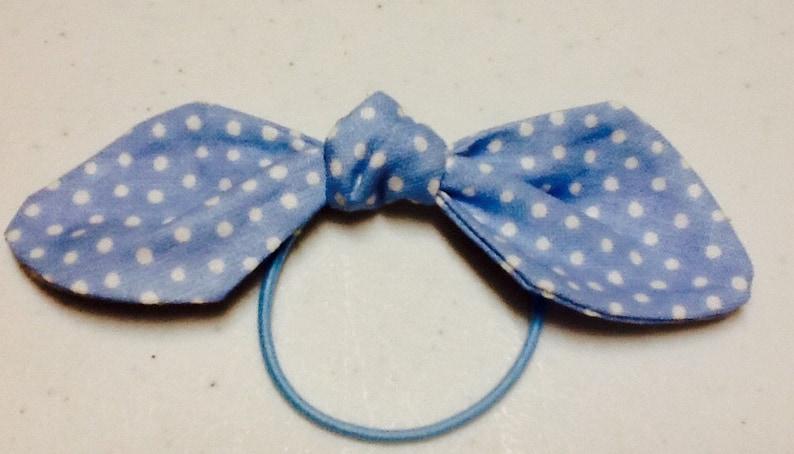 Ponytail Bow on Elastic Blue Fabric Hair Bow Hair Accessories
