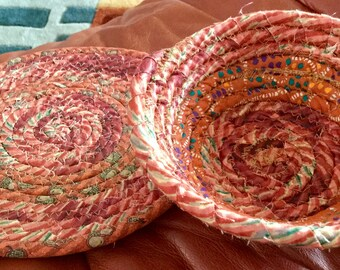 """Coiled Fabric Basket and 7.5"""" Mat   Burndt Orange and Green   Basket 6""""   Home and Living, Kitchen,  handmade"""