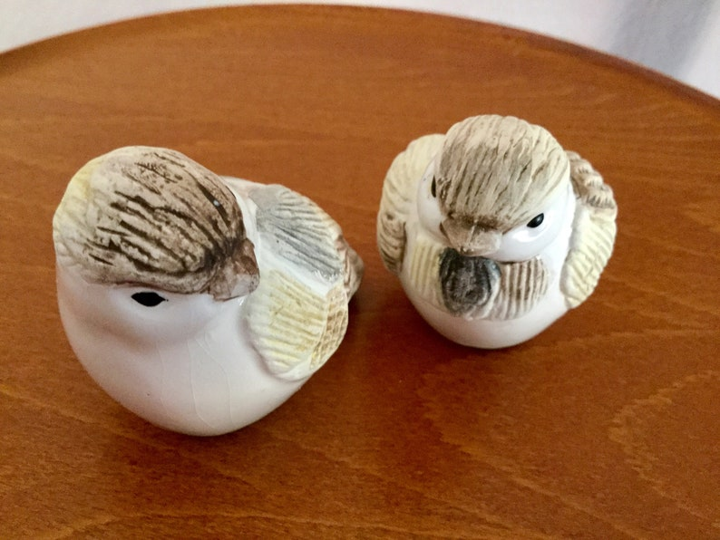Vintage Chickadees Salt and Pepper Shakers Beige and brown Excellent  condition