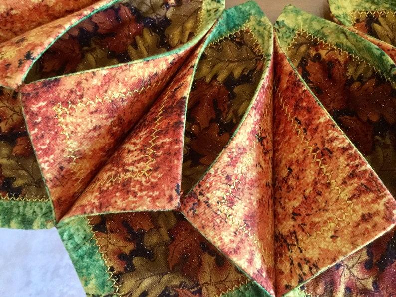 Table Runner Cotton 19\u201d inches diameter Handmade Candle Mat Glittery Fabric Fall Halloween Thanksgiving Centerpiece