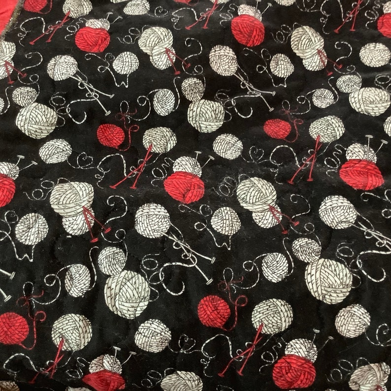 Cotton Fabric Red and Black 24\u201d by 18\u201d Handmade Huge Project Bag Tote Magnetic Closure
