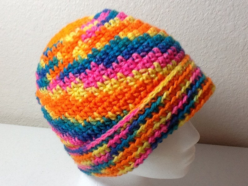 Hand Crochet Hat Multicolored Sized Child to Adult