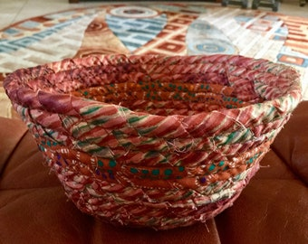 """Coiled Fabric Basket 7"""" by 3""""   Burndt Orange and Green   Basket   Home and Living, Kitchen,  handmade"""