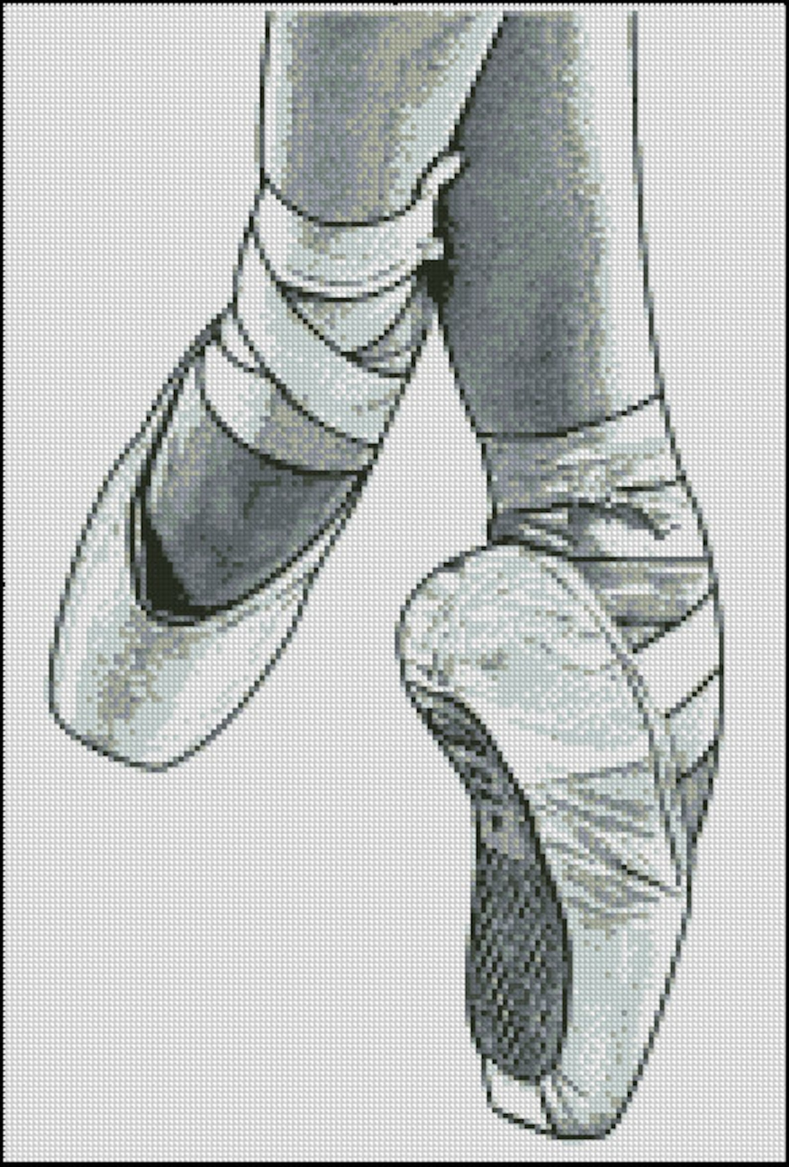 pointe shoes, ballet cross stitch pattern no.130