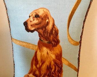 Irish Setter Printed Linen Pillow with Multi Cording