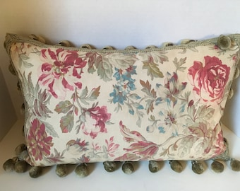 Vintage Faded Cottage Floral Pillow with Ball/Bead Fringe
