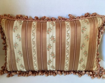 Copper and Cream Vervain French Liserie Stripe Mocha Pillow with Onion Tassel Trim