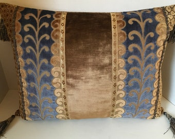 Embossed Blue and Mocha Velvet with Metallic Trim and Crystal Tassels