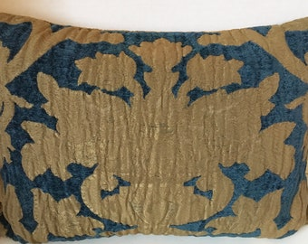Pindler Hearst Castle Old World Metallic Gold Damask and Deep Blue Chenille Pillow
