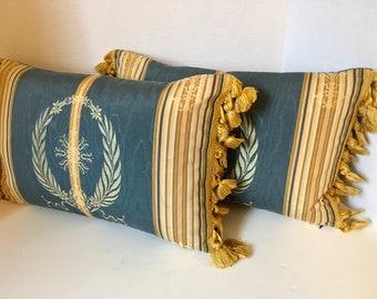 PAIR of Empire Blue and Gold Laurel Wreath Lumbar Pillows with Tassel Trim