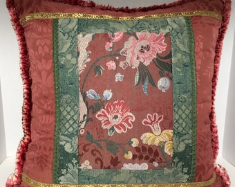 Pieced Brocade in Dark Rose and Teal Green with Metallic Ribbon and Brush Finge
