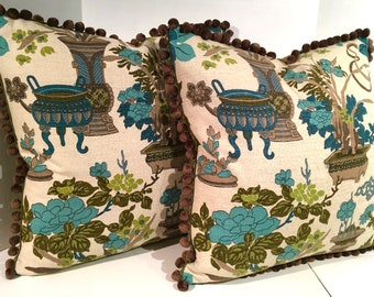 PAIR of Vintage 1960's Barkcloth Oriental Print Pillows with Ball Fringe