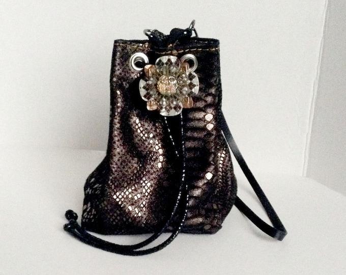 "Metallic ""Anthracite"" Snakeskin-Embossed Black Cowhide Leather Mini Bucket Bag"