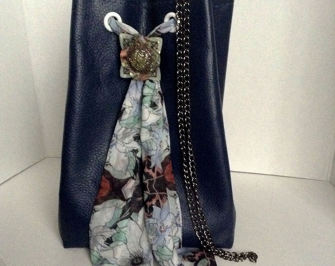 Navy Blue Genuine Leather Maxi Bucket Bag