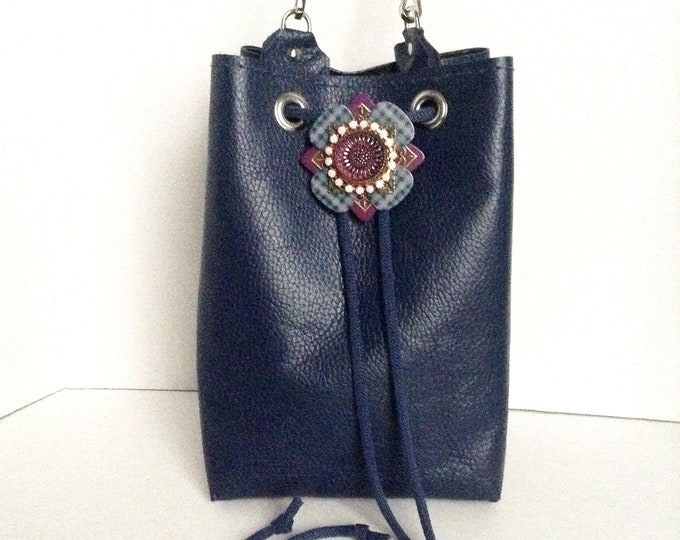 Navy Blue Genuine leather Mini Bucket Bag