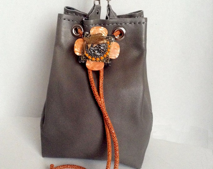 Koi: Genuine Butter-Soft Taupe Leather Mini Bucket Bag