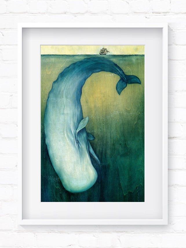 Moby Dick Wal-Kunst Kunstdruck Wal-Druck Wand Kunst | Etsy