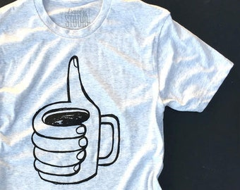 Thumbs up for Coffee   //  Adult Crew T-shirt