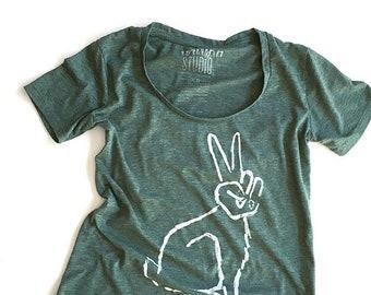 Peace Bunny   //  Ladies Hi-Low Tee