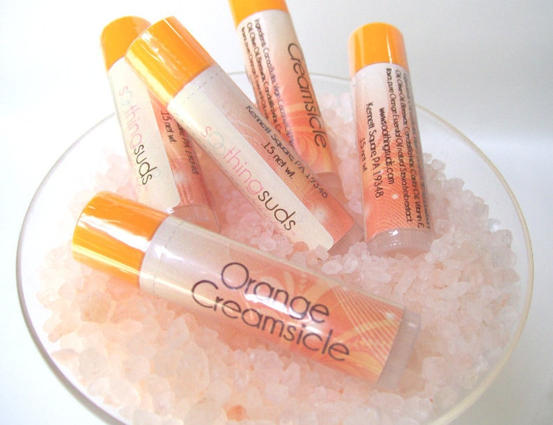Orange Creamsicle  handmade Beeswax Lipbalm by Soothing Suds image 0