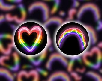 Neon Glowing Rainbow Heart Pin/Button