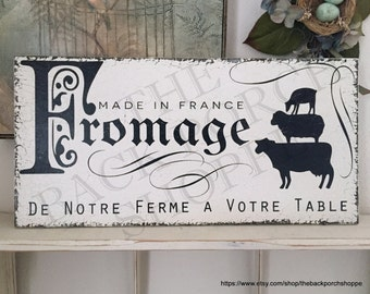 FRENCH Signs   FROMAGE   French Cheese Sign   Kitchen Signs   12 x 24