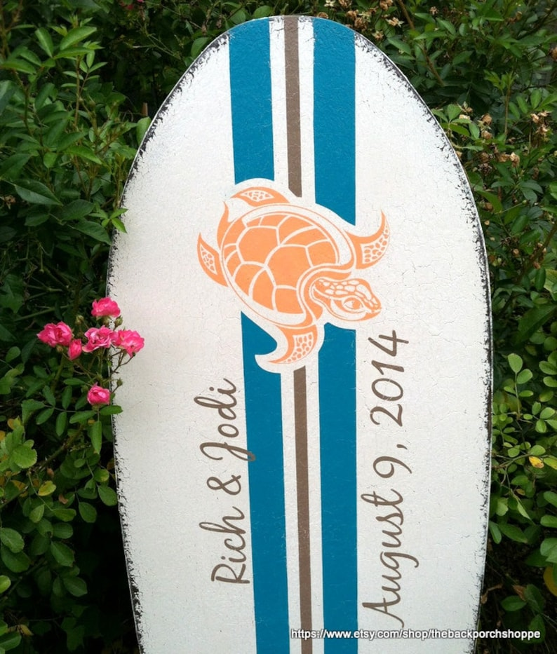 48 x 15 Guest Book Alternative 4 ft tall Wedding Sign Beach Wedding SEA TURTLE SURFBOARD Guestbook