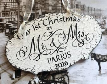 Our 1st CHRISTMAS ORNAMENT, Farmhouse Style Ornament, Mr. and Mrs. Christmas Ornament, Shabby Chic Style Ornament