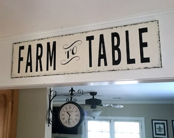 FARM TO TABLE, Farmhouse Sign, Fixer Upper Style Sign, Grocery Sign, Kitchen Sign, 32 x 8.5